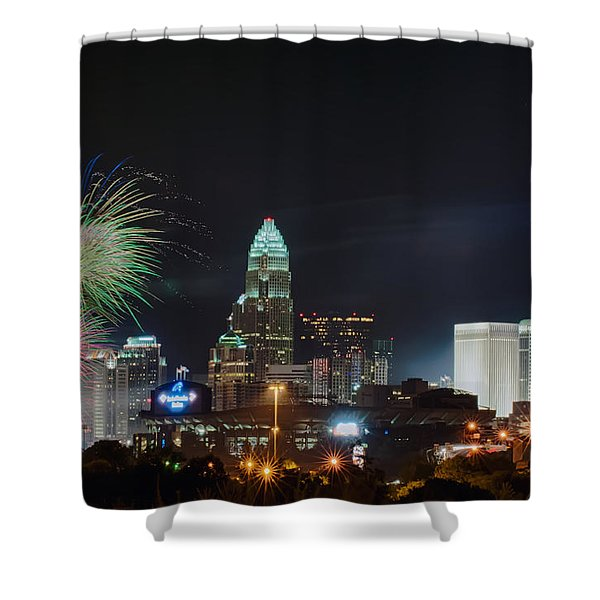 Shower Curtain featuring the photograph 4th Of July Firework Over Charlotte Skyline by Alex Grichenko