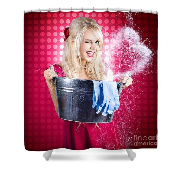 60s Retro Cleaning Lady With Metal Water Bucket Shower Curtain
