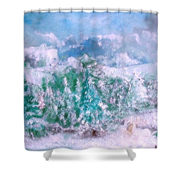 Shower Curtain featuring the painting A Natural Christmas by Laurie Lundquist