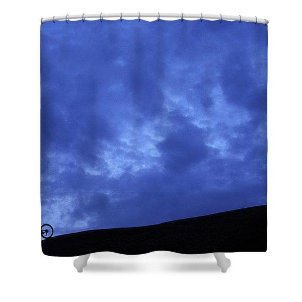 A Silhouette Of A Woman Mountain Biking Shower Curtain