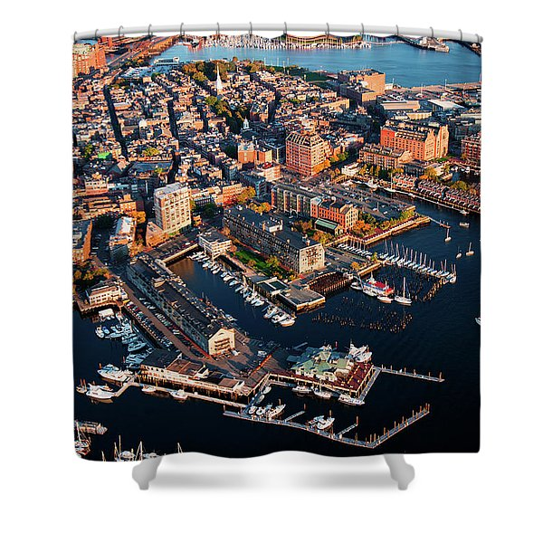 Aerial Morning View Of Harbor Shower Curtain