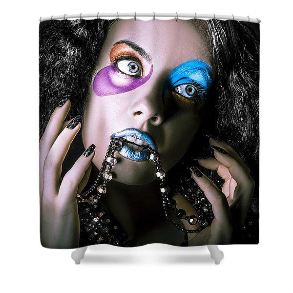 Alternative Fashion Model Face. Bright Makeup Shower Curtain