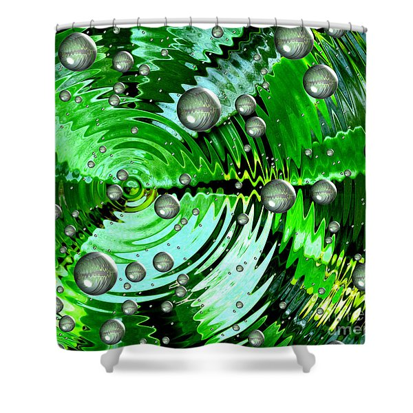 Amazing. Abstract Art. Green Grey  Blue Yellow  Shower Curtain