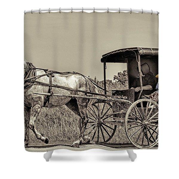 Amish Boy Tips Hat Shower Curtain