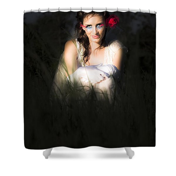 Angel Sitting In The Darkness Shower Curtain