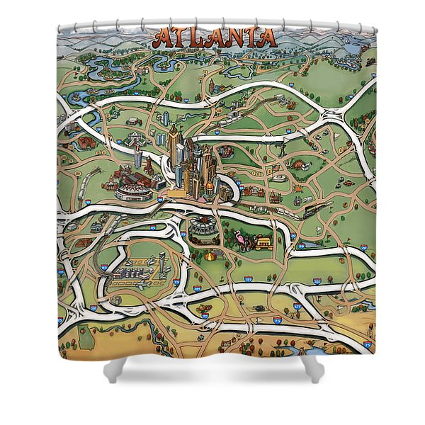 Atlanta Cartoon Map Shower Curtain