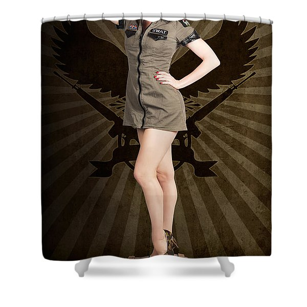 Attractive Blond Pin-up Army Girl. Military Salute Shower Curtain