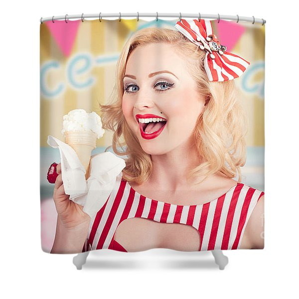 Attractive Retro Pinup Girl Eating Ice Cream Cone Shower Curtain
