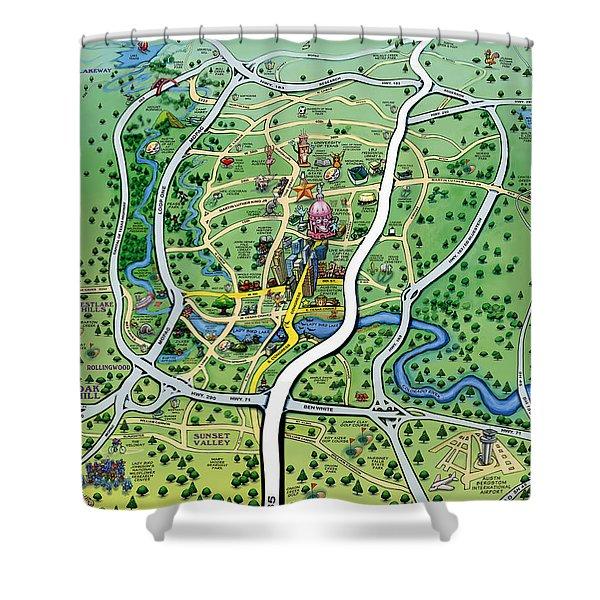 Austin Texas Cartoon Map Shower Curtain