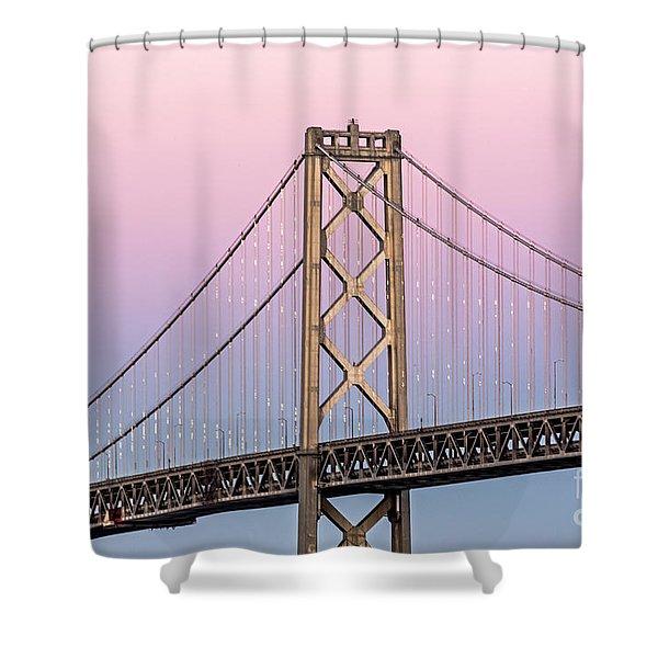 Bay Bridge Lights At Sunset Shower Curtain