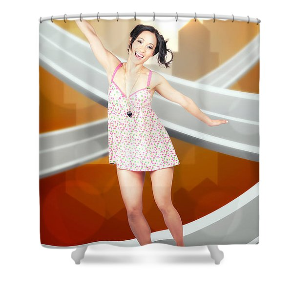 Beautiful Smiling Skater Woman. City Skateboarding Shower Curtain