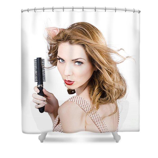 Beauty Model Portrait. Brunette Hair Style Woman Shower Curtain