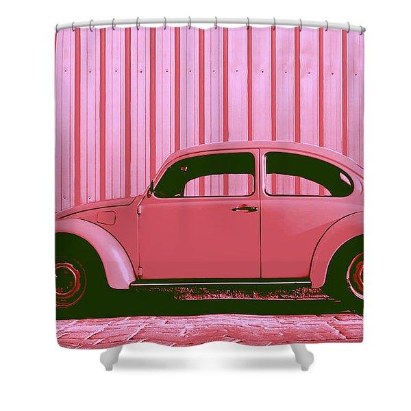 Beetle Pop Pink Shower Curtain