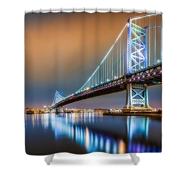 Ben Franklin Bridge And Philadelphia Skyline By Night Shower Curtain