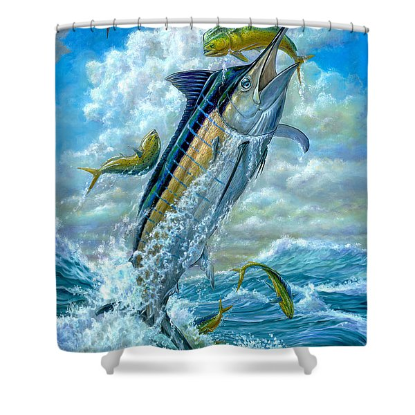 Big Jump Blue Marlin With Mahi Mahi Shower Curtain