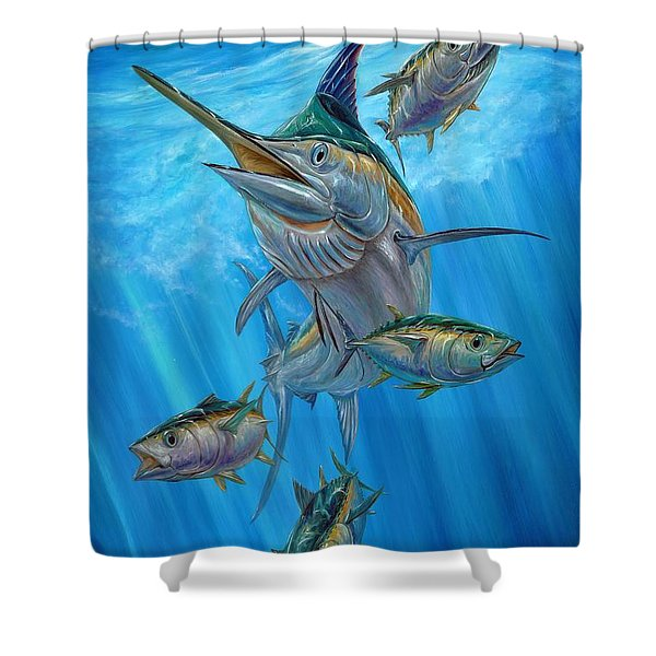 Black Marlin And Albacore Shower Curtain