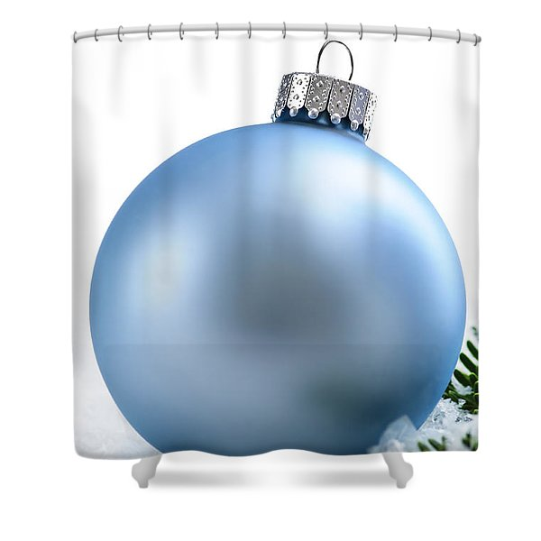 Blue Christmas Bauble Shower Curtain