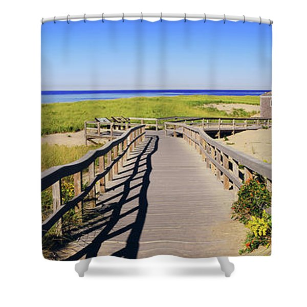 Boardwalk Leading Towards Old Harbor Shower Curtain