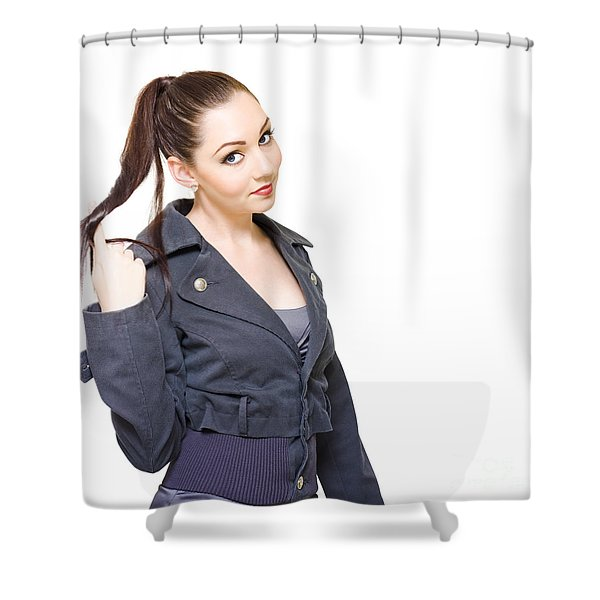 Bored Unproductive Business Woman Twirling Hair Shower Curtain