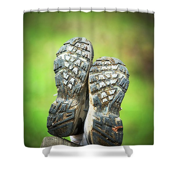 Bottom View Of Hiking Shoes Shower Curtain