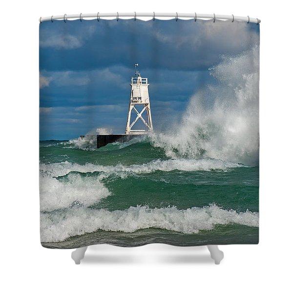 Break Wall Waves Shower Curtain