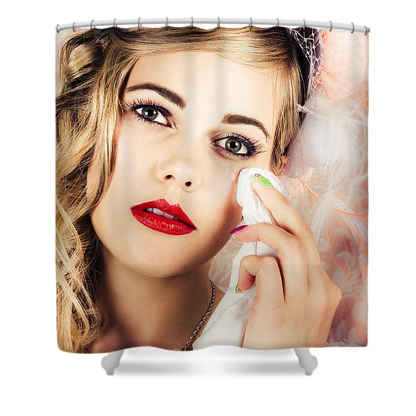Bride Crying Tears Of Joy During Marriage Vows Shower Curtain