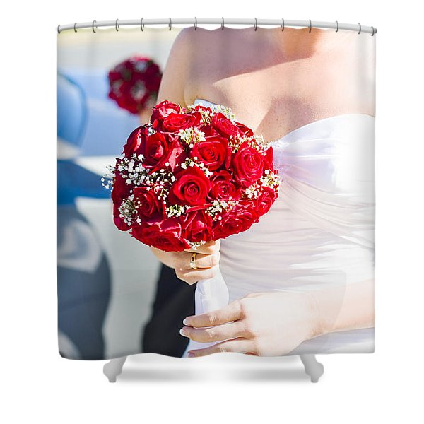 Bride Holding Red Rose Flower Bunch Shower Curtain