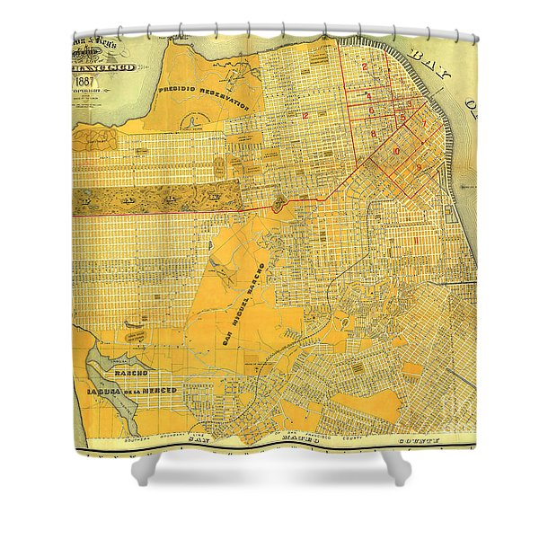 Britton And Reys Guide Map Of The City Of San Francisco. 1887. Shower Curtain