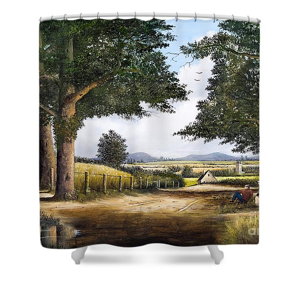 Shower Curtain featuring the painting Bromyard Downs by Ken Wood