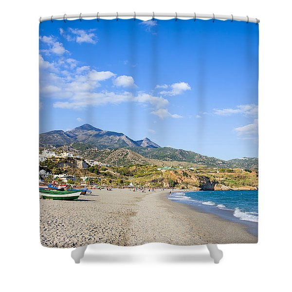 Burriana Beach In Nerja Shower Curtain