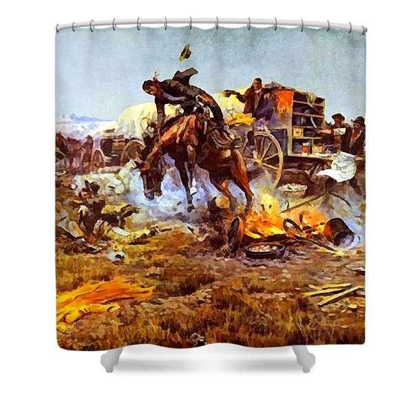 Camp Cooks Trouble Shower Curtain