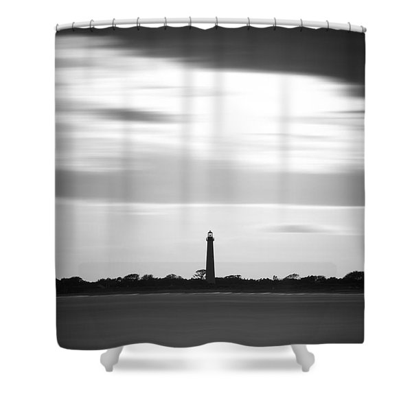 Cape May Lighthouse Vertical Long Exposure Shower Curtain
