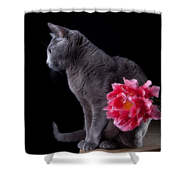 Cat And Tulip Shower Curtain