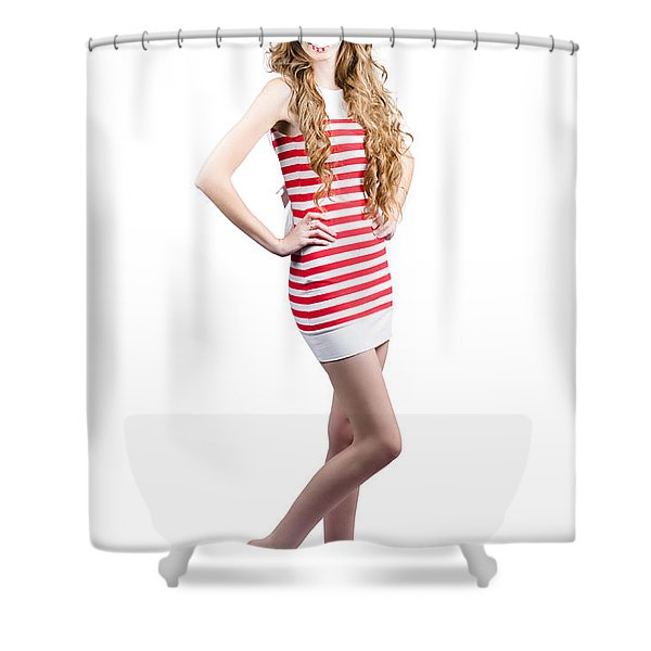Catwalk Beauty Posing In Retro Fashion And Makeup Shower Curtain