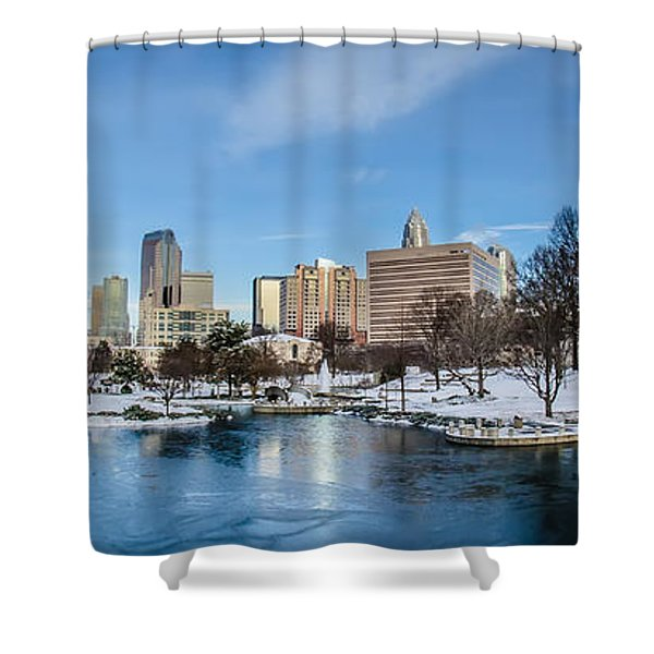 Shower Curtain featuring the photograph Charlotte Downtown by Alex Grichenko
