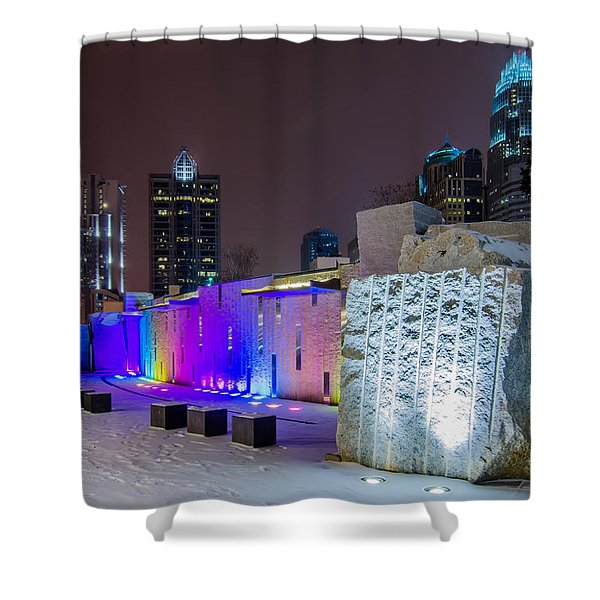 Shower Curtain featuring the photograph Charlotte Queen City Skyline Near Romare Bearden Park In Winter Snow by Alex Grichenko