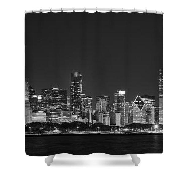 Chicago Skyline At Night Black And White Panoramic Shower Curtain