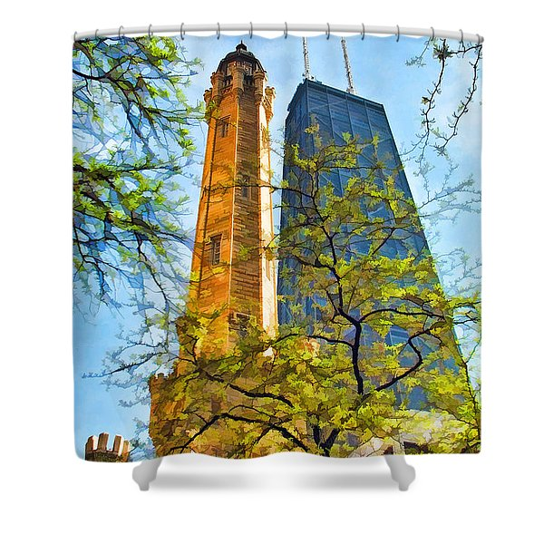 Chicago Water And Hancock Towers Shower Curtain