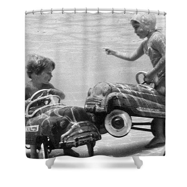 Children Playing Under Water Shower Curtain