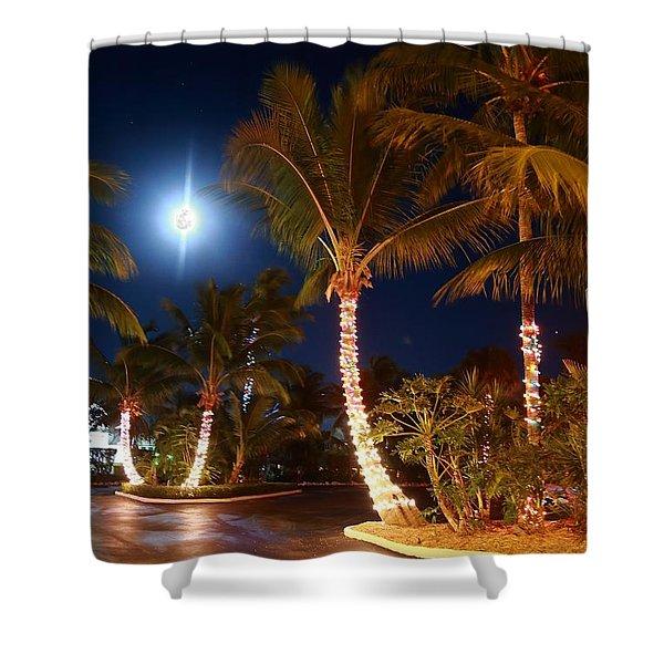 Christmas Palms Shower Curtain