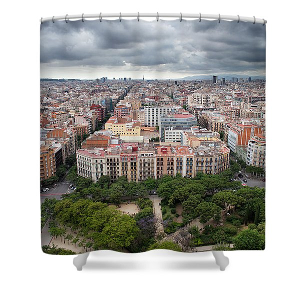 City Of Barcelona From Above Shower Curtain