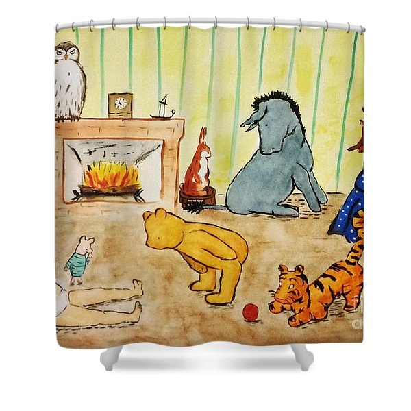 Classic Winnie The Pooh And Friends Shower Curtain