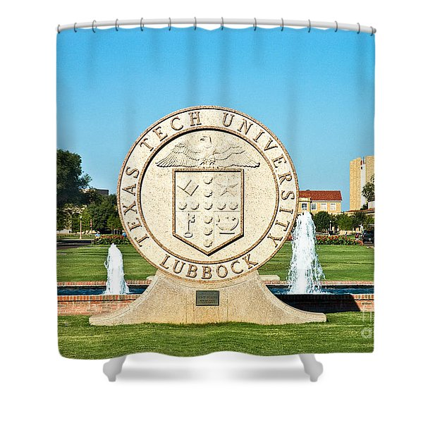 Shower Curtain featuring the photograph Classical Image Of The Texas Tech University Seal  by Mae Wertz