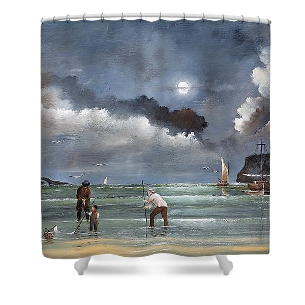Shower Curtain featuring the painting Cockle Picking At Whitby by Ken Wood