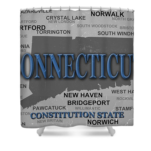 Connecticut State Pride Map Silhouette  Shower Curtain