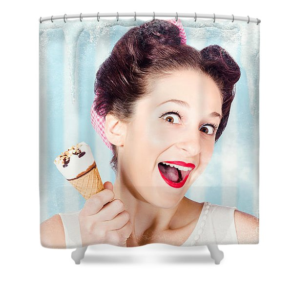 Cool Pin-up Woman In Cold Freezer With Ice-cream Shower Curtain