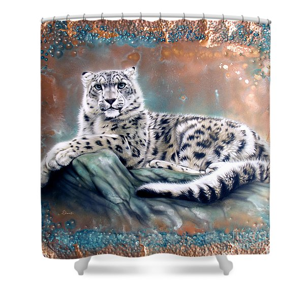 Shower Curtain featuring the painting Copper Snow Leopard by Sandi Baker