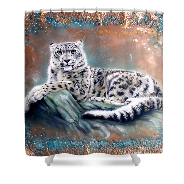 Copper Snow Leopard Shower Curtain