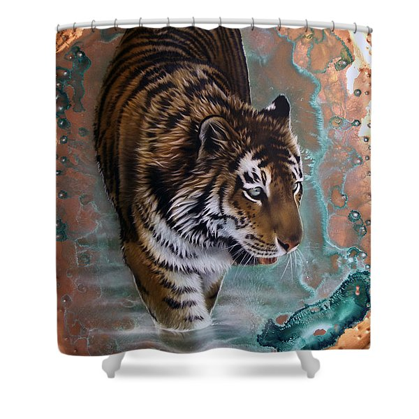 Copper Tiger I  Shower Curtain
