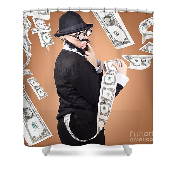 Corrupt Business Man Money Laundering Us Dollars Shower Curtain